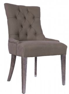 LH Imports - Chaise grise capitonnée - Grey tufted chair