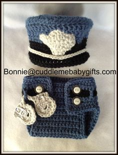 Crochet Baby Police Handmade Hat and Diaper by CuddleMeBabyGifts  #etsy  @etsy @huggies @thebump @coolshowergifts
