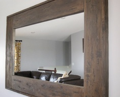 "DIY - old ""barn wood"" style mirror with a distressed aged finish ."