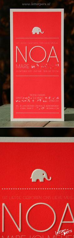 www.letterpers.nl  letterpers_letterpress_geboortekaartje_Noa_Rood_Fluor_neon_olifantje_lief