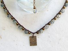 Crochet Necklace Brown Waxed Linen with VintageLook by 2Cr8Beading, $50.00