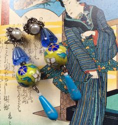 Dangle Bead Earrings Assemblage OOAK Vintage by TobysArtwear