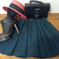 """""""Lush"""" Dark teal flaired skirt Flared and fun teal green skirt. Medium weight fabric, nice texture. Gathered stretch waistband. 16"""" length. No tags, but Never worn. Color is best in second photo. Lush Skirts Circle & Skater"""
