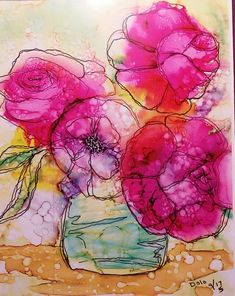 Jar of roses alcohol ink. See more FB page Dodo D. Zine