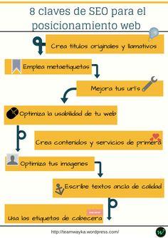 Ocho consejos que te ayudarán al Posicionamiento #SEO de tu web  #infografia #infographic