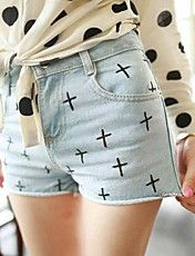 Patrón Cruz de cintura alta pantalones cortos... – USD $ 21.69