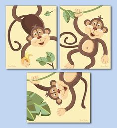 Set of 3 Art Prints for Nursery Jungle Monkey by smileywalls, $18.90