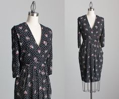 90s Vintage Black Floral Print Wrap Dress / Small / by decades, $58.00