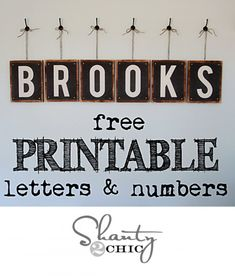 Free pdf Printable Letters. These are great. There are letters of the alphabet, numbers 0-9 and even a pretty ampersand and heart. They are in 8x10 and would go great in a school room, on a kids' wall or ANYWHERE. The letters are all uppercase.