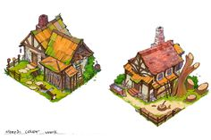 woodman hut concept art, Yuriy Svalov on ArtStation at https://www.artstation.com/artwork/5On5W
