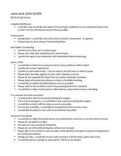 Birth Plan Template | iWorkCommunity - Templates Exchange: | Baby ...