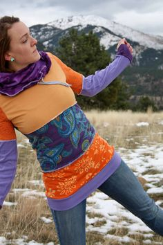 Eco/Upcycled Cowl Neck Patchwork Hoodie // Gypsy Tunic Dress - Size Small
