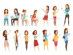 Teenager #Retro #Cartoon #Icons  Set