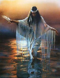 Native American Woman holding a feather while walking thru water art