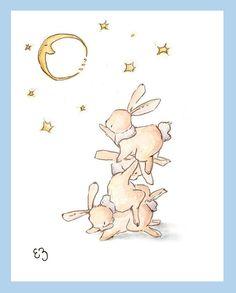 Bunnies Reaching For Stars. PRINT 8X10. Nursery Art by LoxlyHollow