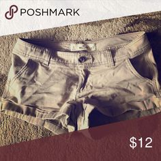 Hollister Khaki Shorts Worn quite a few times but they still have a lot of life in them! Super comfortable, definitely on the short side. Hollister Shorts