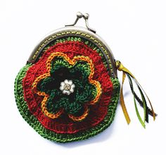 "small purse in crochet with two crocheted flowers, tiny button and ribbons, model ""flower power"""