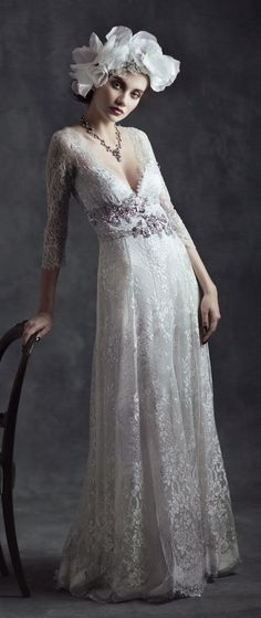 """""""Gothic Angel"""" couldn't be a more perfect name for Claire Pettibone's latest bridal collection. Pettibone's wedding dresses are always designed with her distinctive signature style full of the most feminine and ethereal elements that are quite simply impossible not to be charmed and captivated by. For 2015, the queen of bohemian bridal couture looked to read more..."""