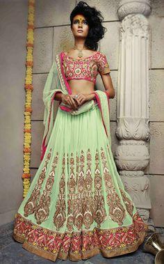 USD 159.40 Light Green Pure Georgette Wedding Lehenga Choli 47169
