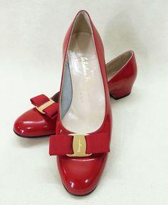 945c4acac Vtg SALVATORE FERRAGAMO Red Vara Bow Women's Leather Pumps Low Heel 7.5 B  #SalvatoreFerragamo #