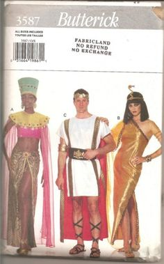 Butterick 3587  Costumes for Cleopatra, Roman soldier, Egyptian Princess, Genie.
