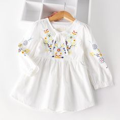 Cheap shirt kids, Buy Quality girls cotton blouses directly from China girls blouse Suppliers: Autumn Cotton Denim dress Little Girls floral dress vintage embroidery flower dresses Toddler Clothing For Party Toddler Girl Style, Toddler Girl Dresses, Toddler Fashion, Toddler Outfits, Kids Fashion, Toddler Girls, Baby Girls, Baby Boy, Fashion 2016