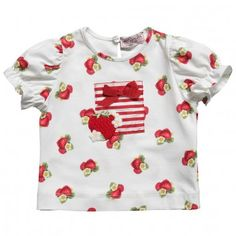 Monnalisa Girls Red Strawberry Print T-Shirt at Childrensalon.com