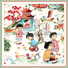 BOOAK Fabric Michael Miller Chinese CHILD Asian China *Adoption Baby Girl Cotton
