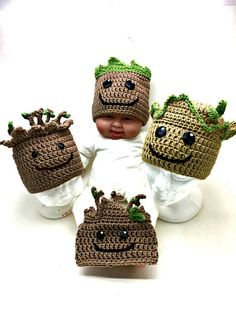 Crochet Baby Groot Hat PATTERN ONLY
