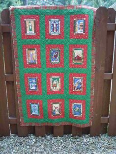 SALE! 12 Days of Christmas Quilt, gold etched poinsettia prints, Merry Christmas, Christmas panel Quilt, lap quilt, custom quilted throw