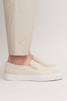 SUEDE SLIP-ON SNEAKERS - Off-white - Shoes - COS Off White Shoes, Small Wardrobe, Men S Shoes, Soft Suede, Slip On Sneakers, You Bag, My Bags, New Product, Man Shop