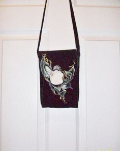 Hand Painted Black Suede Leather Purse  Cross by ToletallyPainted, $73.50