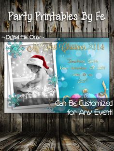 Printable Christmas Party Invitation or Card~ Baby's First Christmas Card ~ I228