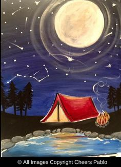"""August, PM AM - Cheers Pablo Coon Rapids - Coon Rapids - United States - Can't make it to the cabin this weekend? Chill out and come in and paint, """"Summers Eve"""" Cheers Pablo Promo Code CHE. Easy Canvas Painting, Canvas Paintings, Canvas Art, Pta, Chill, Artsy, Summer, Crafts, Paintings On Canvas"""