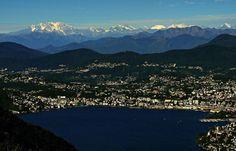 Lanzo d'Intelvi - Belvedere, vista su Lugano e il suo Lago, il Ticinese e il Monterosa con le Alpi svizzere - Settembre 2012