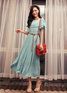 Comfy Elastic Waist Layered Frill Decoration Chiffon Dress