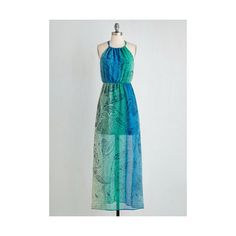 Boho Long Sleeveless Maxi Paisley Days of Summer Dress by ModCloth (93 CAD) ❤ liked on Polyvore featuring dresses, apparel, blue, fashion dress, chiffon maxi dress, long summer dresses, blue dress, summer dresses and boho dress