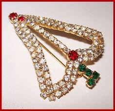 Vintage Rhinestone Christmas Tree Brooch Pin Red Green White & Gold Metal