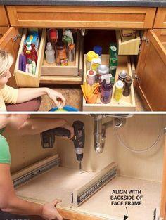 28 genius kitchen organizations ideas on a budget kitchen sink organizationdiy kitchen storagestorage organizationstorage ideasunder - Under Kitchen Sink Storage Ideas