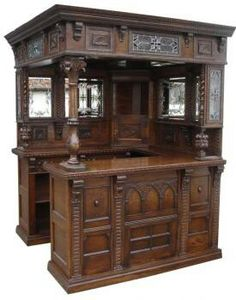 British pub saloon home bar drk oak wood old styl carved tavern furniture canopy shops - Bar canopy designs ...