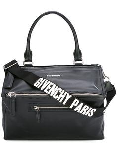GIVENCHY MEDIUM PANDORA BLACK WHITE LOGO TOTE MESSENGER BAG BB05250597-001