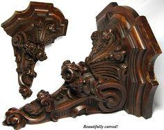 """Superb Antique Victorian 12"""" Carved Wall or Bracket Shelf"""