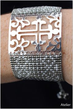 Bracelet in Grey and White Beads with Silver Cross by Atelier Home & Garden (UK)