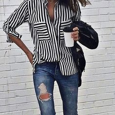 Striped off duty shirt and ripped jeans