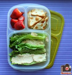 Hummus packed for lunch in @EasyLunchboxes {Recipe in post}
