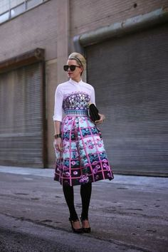 Winter Outfit Idea - button-down shirt under a colorful midi dress | StyleCaster
