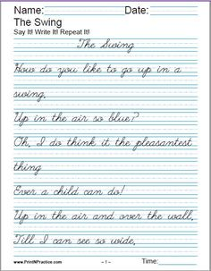 Printable Handwriting Worksheets For Kids: Manuscript handwriting and cursive writing worksheets. Visit http://www.printnpractice.com/printable-handwriting-worksheets.html Pin now to practice later. Thank you! :-)
