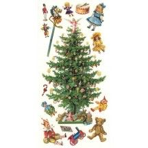 1 Sheet of Stickers Victorian Christmas Tree and Toys