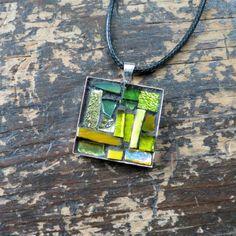 Lemon Lime Green Mosaic Pendant by nutmegdesigns on Etsy