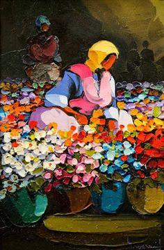 "hitku: ""by Saim Dursun "" Paintings I Love, Indian Paintings, Beautiful Paintings, Sketch Painting, Artist Painting, Indian Art, African Art, Oeuvre D'art, Watercolor Art"